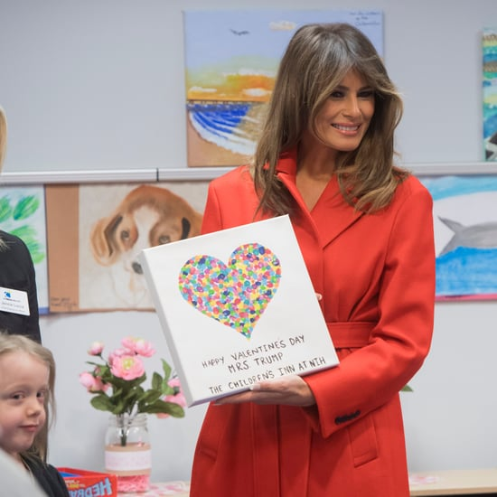 Melania Trump Red Calvin Klein Coat on Valentine's Day