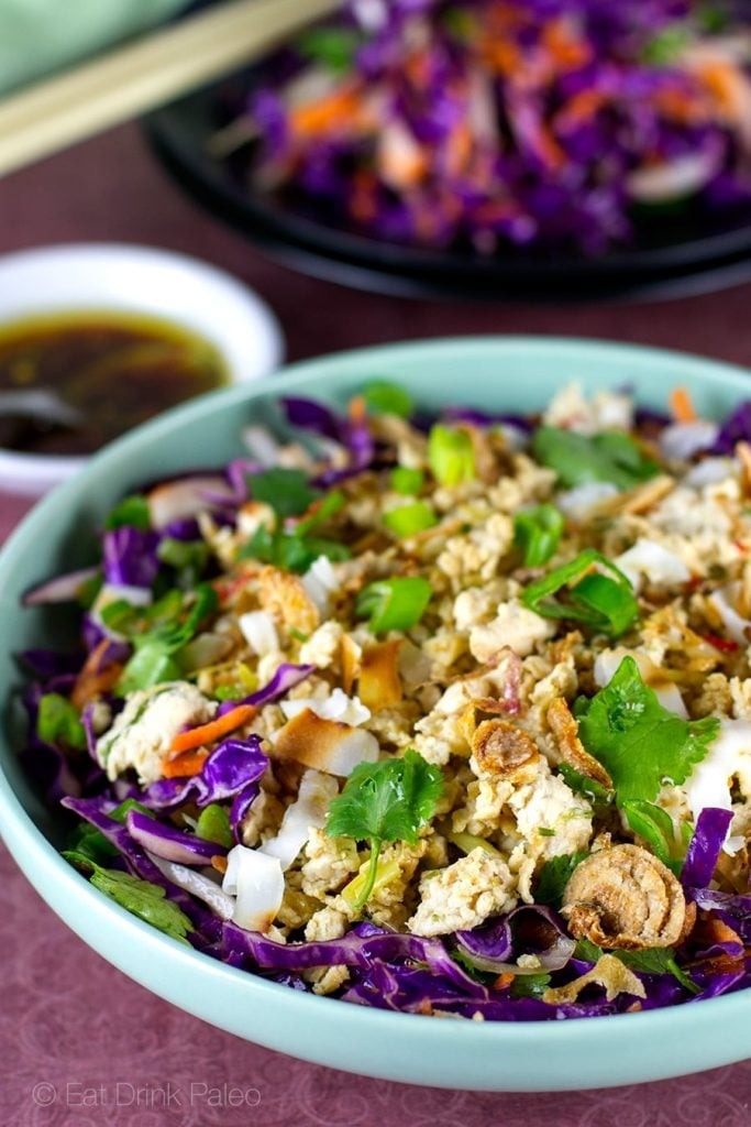 Chicken Larb Salad With Red Cabbage