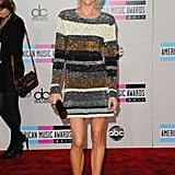 Modern Family's Julie Bowen wore a sparkly striped dress.