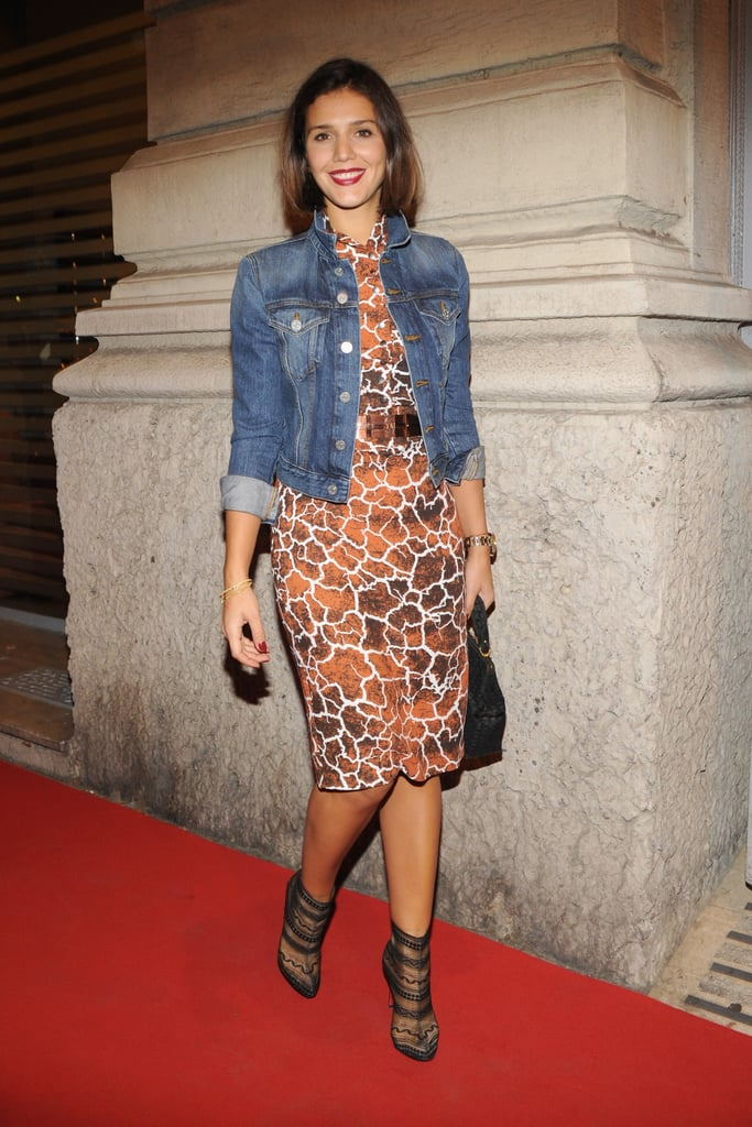Margherita Missoni played to both a laid-back sensibility and a more formalised one. Case in point: her denim jacket offset her printed form-fitted sheath and sexy semi-sheer ankle boots to perfection.