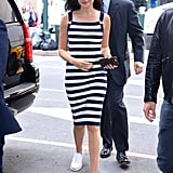 When She Styled a Summer Dress With White Slip-On Sneakers