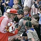 Diana met with Cub Scouts in Hobart, Australia, in March 1983.