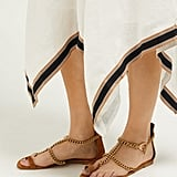 Gianvito Rossi Chain Suede Flat Sandals