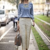 Polka-dot trousers are spot on.