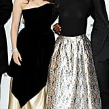 Kat Dennings and Natalie Portman stood next to each other as the cast of Thor: The Dark World posed for photos at the film's world premiere in London on Tuesday.