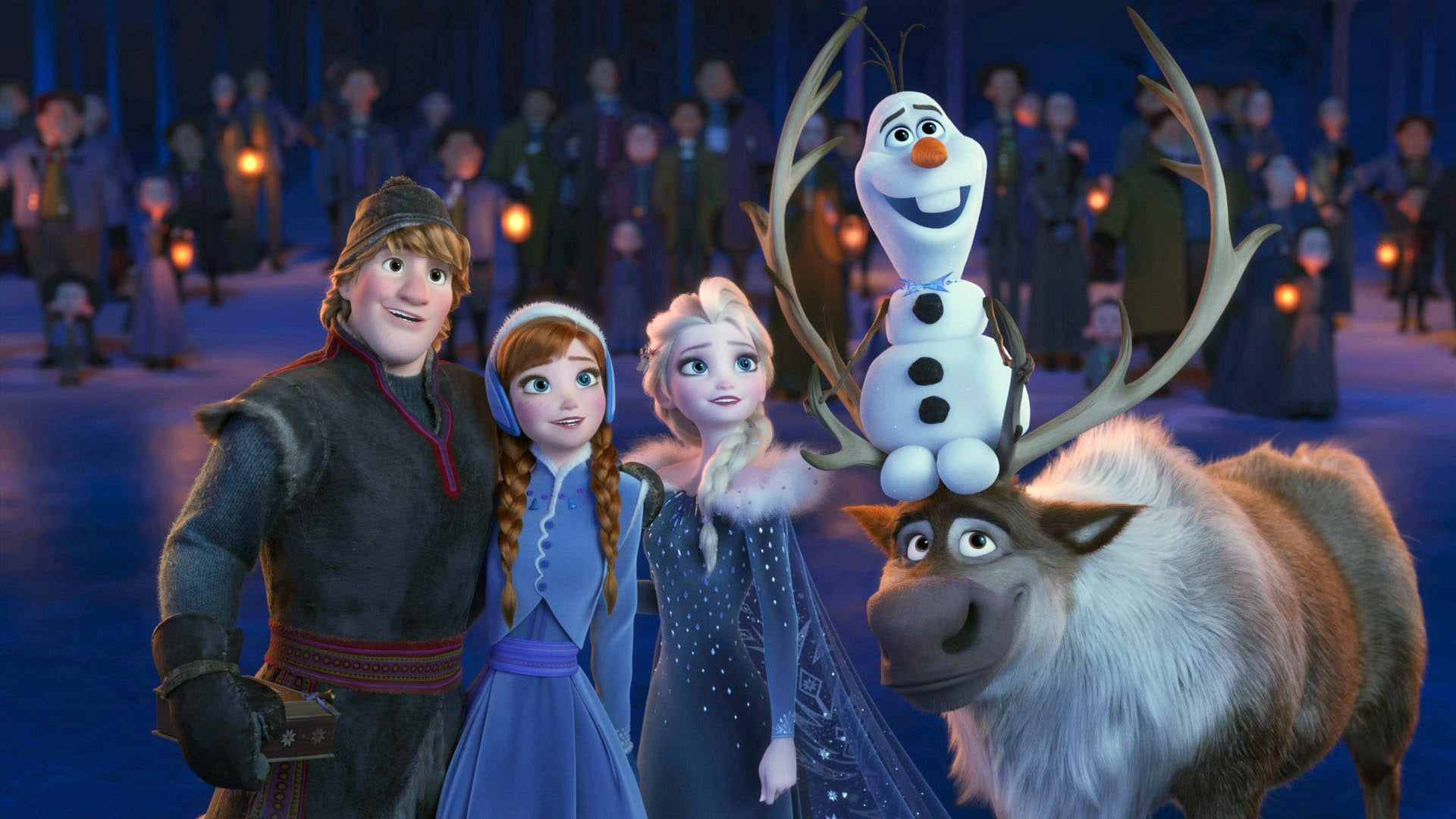 OLAF'S FROZEN ADVENTURE, from left: Kristoff (voice: Jonathan Groff), Anna (voice: Kristen Bell), Elsa (voice: Idina Menzel), Olaf (voice: Josh Gad), Sven, 2017.  Walt Disney Studios Motion Pictures/courtesy Everett Collection