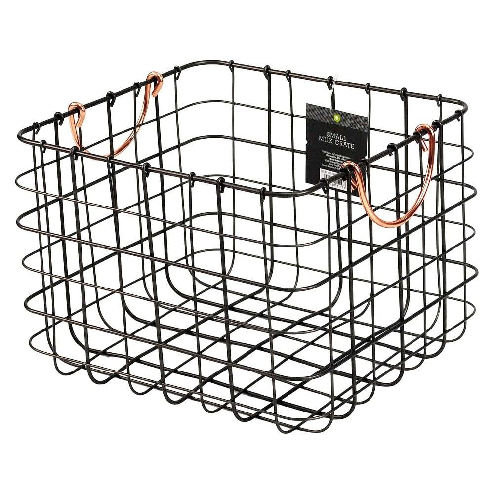 more home storage  threshold small milk crate wire basket