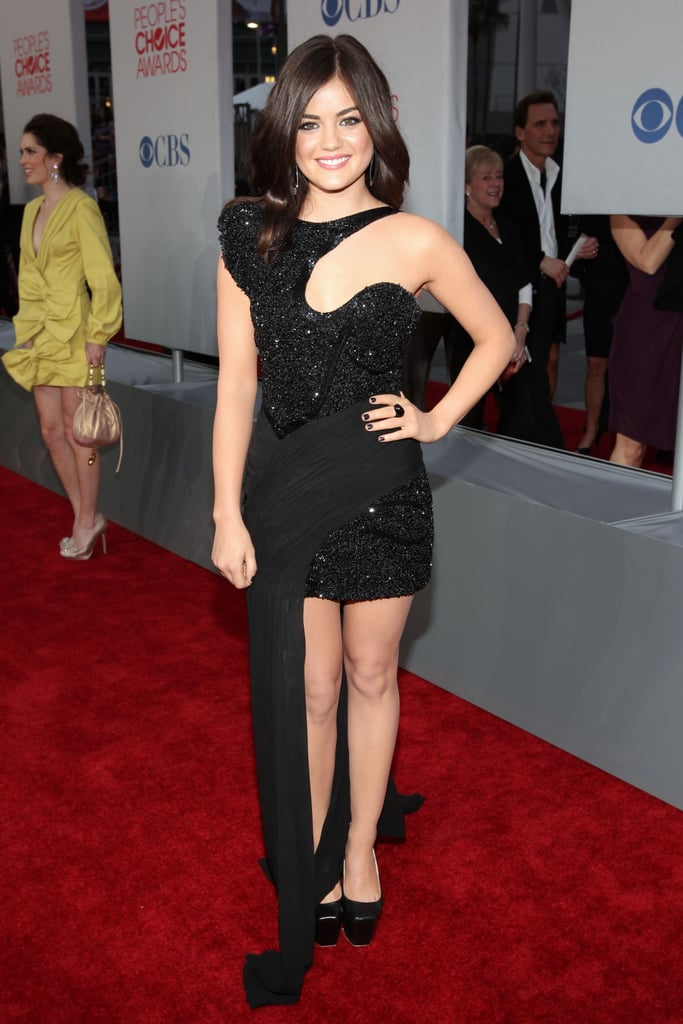 Lucy Hale in a black dress.