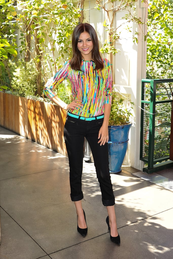 Victoria Justice's multi-colored Prabal Gurung for Target blouse and bright turquoise belt added major pop to her black denim and pumps in LA.