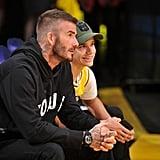 Photos of Romeo and David Beckham Twinning at Lakers Game