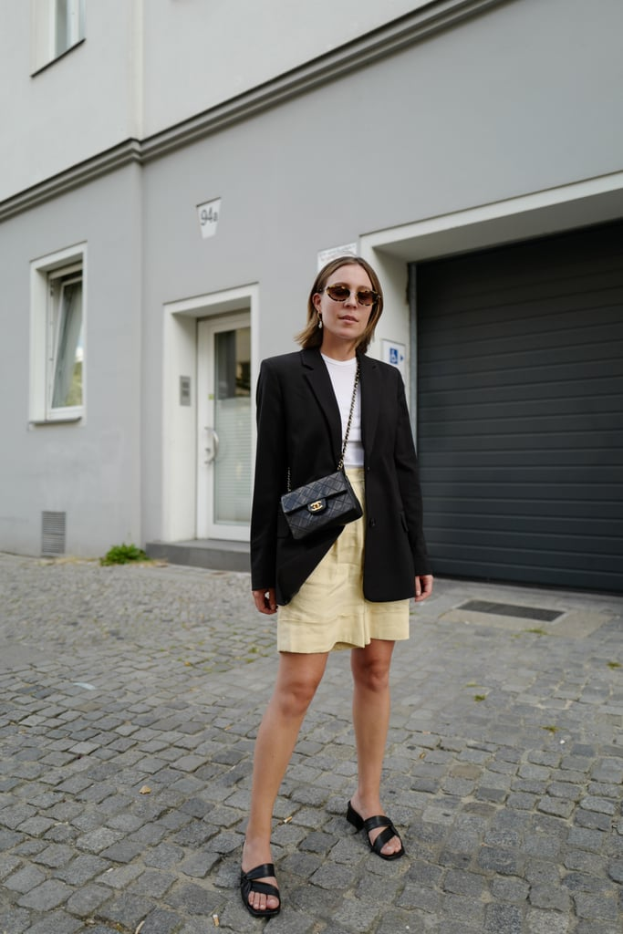 Style Your Go-To Blazer With Printed Shorts and Sandals
