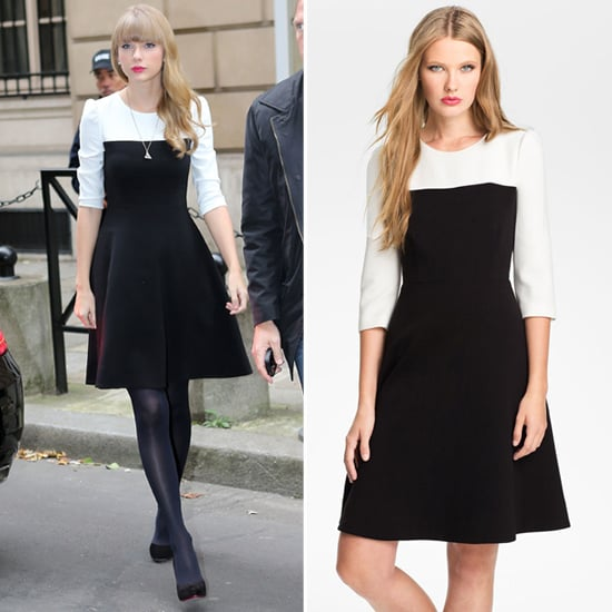 Taylor Swift Wearing Black And White Colorblock Dress Popsugar Fashion
