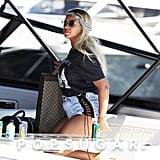 Beyoncé Denim Shorts With Lace Up Sides