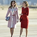 Queen Letizia and Queen Rania of Jordan looked like they were fit for a runway while chatting in November.