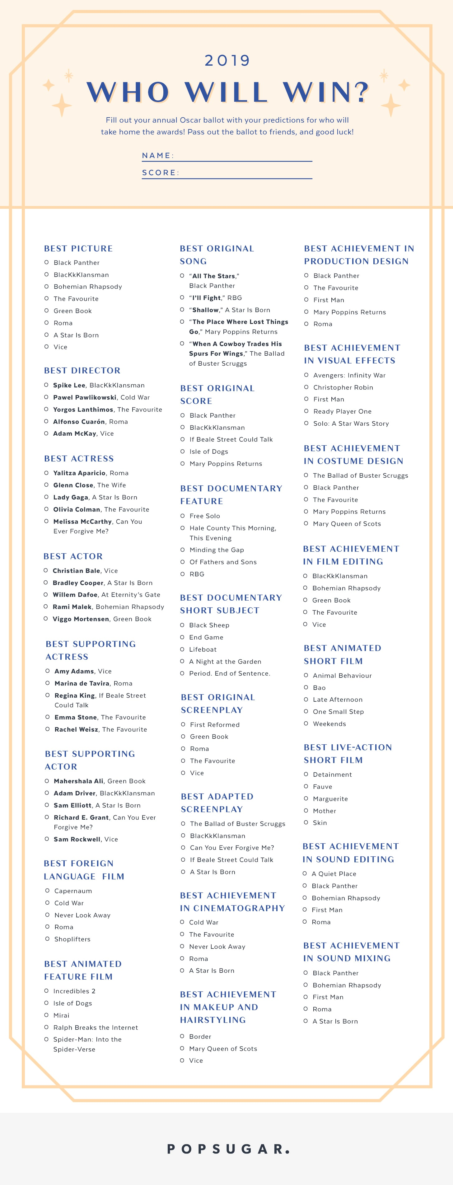picture regarding Printable Ballot known as Printable Oscars Ballot 2019 POPSUGAR Enjoyment