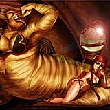 Ursula and Ariel as Jabba the Hutt and Princess Leia