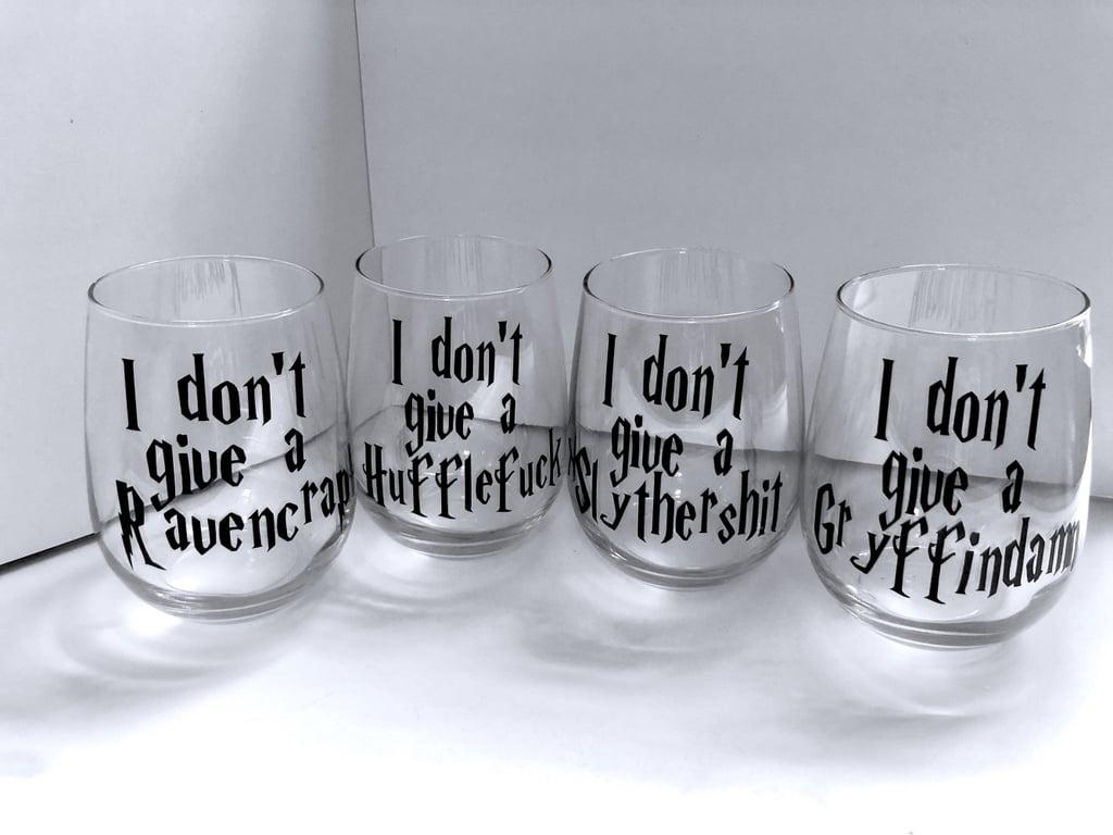 Set of Harry Potter Swear Word Wine Glasses