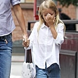 Gwyneth Paltrow's daughter Apple Martin with a Hello Kitty purse.