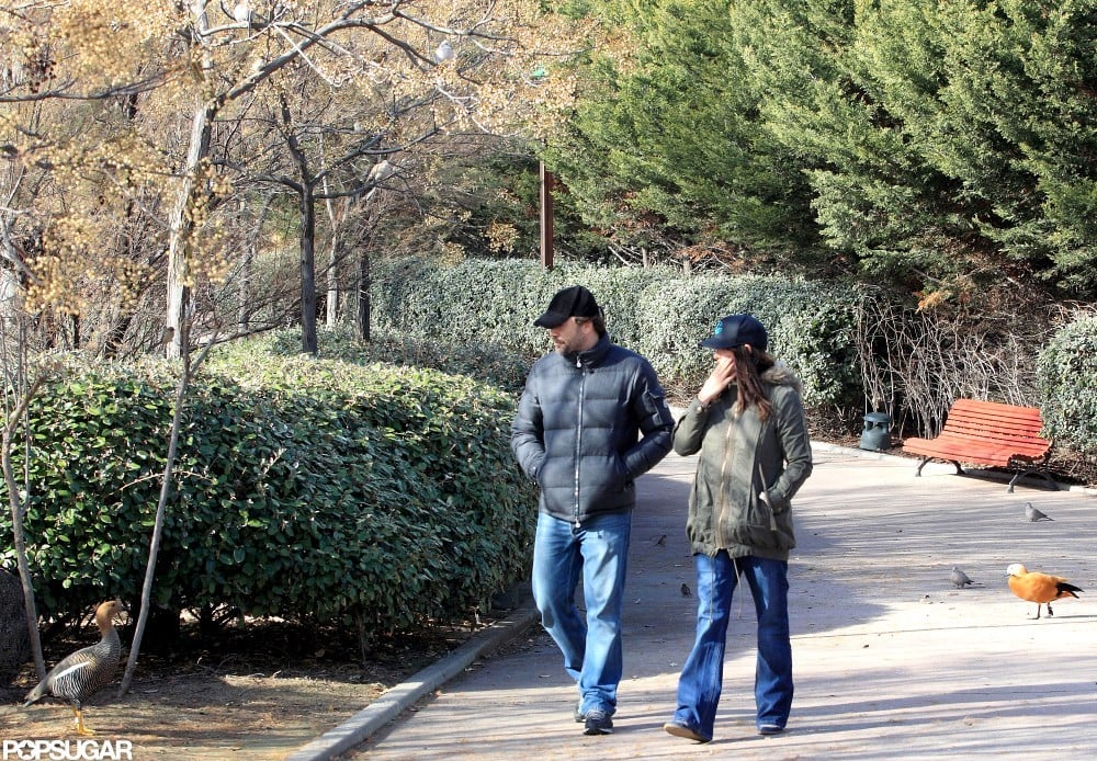 Penélope Cruz and Javier Bardem took a walk around a park in Madrid.