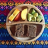 """""""Lunch: jam and almond butter sandwich on sprouted rye and sourdough bread, avocado, and nectarine."""""""