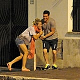 Luisana Lopilato joked around with Michael Bublé during a dinner date in Rome.