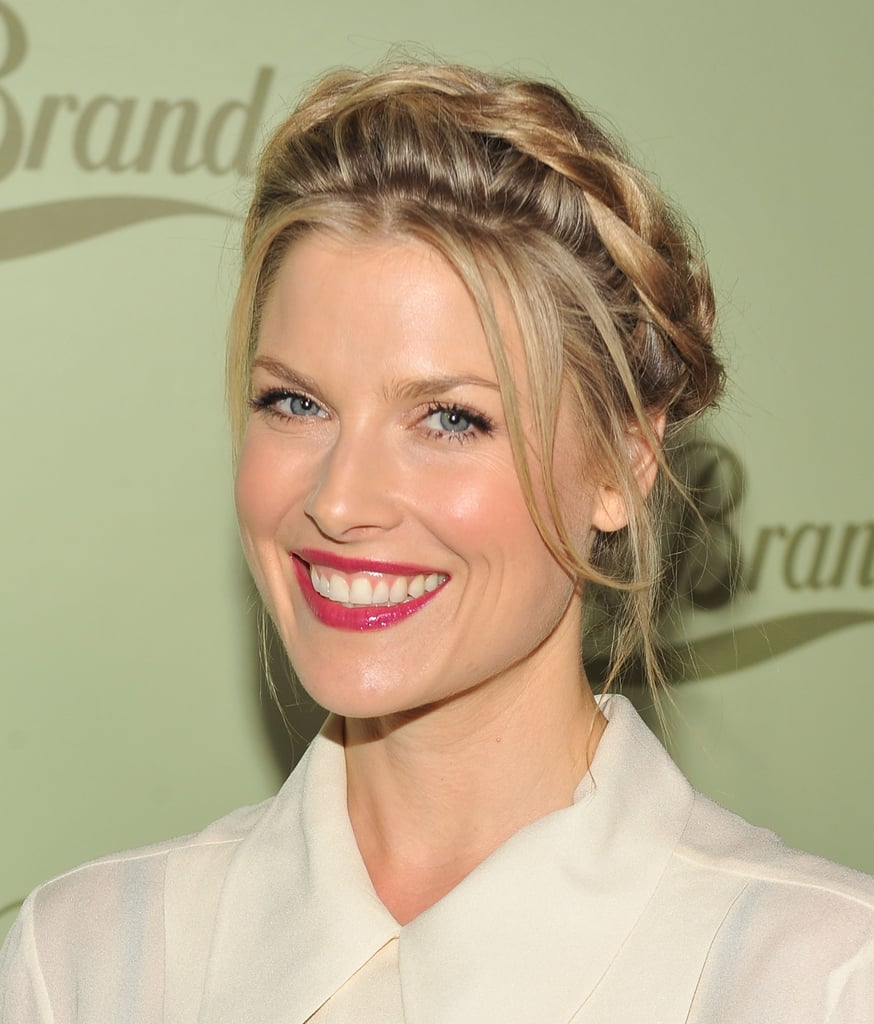This circular plait on Ali Larter has just enough class to fit in at an evening event. But the flyaways add a dash of romantic flair that would go perfectly with a strapless gown.
