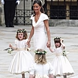Pippa Wearing Her White Alexander McQueen Bridesmaid Dress at the Royal Wedding in 2011