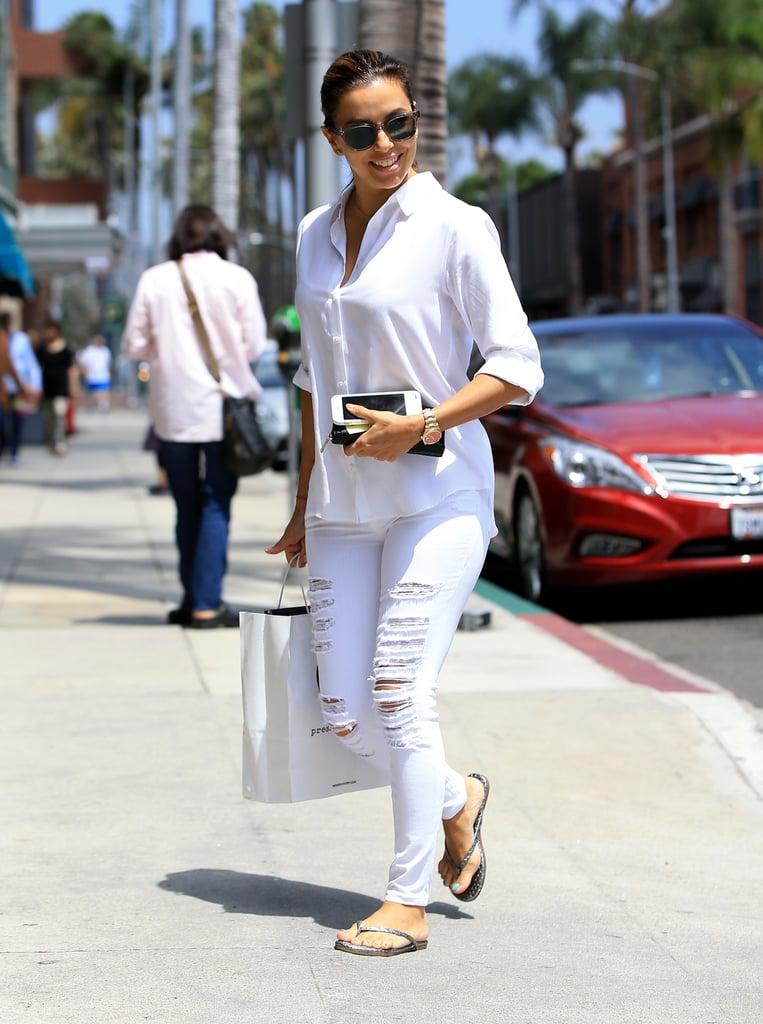 Eva Longoria Wearing White in Los Angeles July 2016