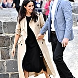Meghan Wore Her Club Monaco Dress Under a Martin Grant Trench
