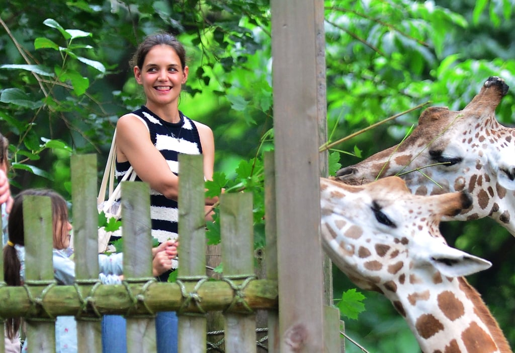 Katie Holmes brought Suri Cruise to check out the animals at the Bronx Zoo on the weekend. Suri and Katie looked like they were having a blast feeding the giraffes. Suri and her friend even wore matching shirts for the outing. Katie left Suri at home for one adults-only evening earlier in the weekend. Katie had dinner out with her lawyer while meanwhile across the country Tom Cruise went out to lunch with his own legal council. Katie stuck around NYC instead of flying to LA for her annual Dizzy Feet Foundation celebration of dance event on Saturday. Instead, she's continuing to take advantage of all there is to do in the Big Apple before returning to the Broadway stage and holding her first ever Holmes & Yang runway show during New York Fashion Week in September.