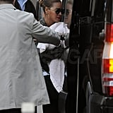Beyonce Knowles entered a car with daughter Blue Ivy Carter.