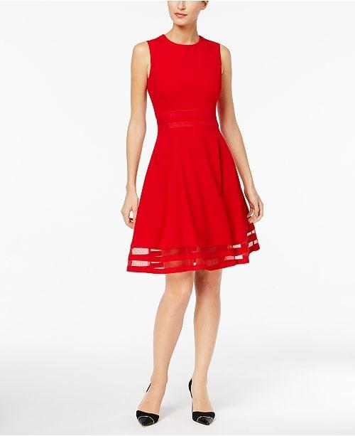 Calvin Klein Illusion Trim Fit Amp Flare Dress Selena