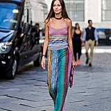 This Milan Fashion Week guest had the right idea by topping off her colorful outfit with a plain choker.
