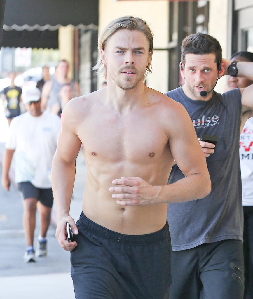 Derek Hough ditched his shirt to enjoy a run around LA on Saturday afternoon. The dance pro — who was recently cast as Corny Collins in Hairspray Live! — showed off his fit physique as he stopped to give high fives to those who also completed the run with him at Pulse studio. Of course, this isn't the first time we've caught a glimpse of Derek's shirtless bod. Back in December, the actor flaunted his abs while hitting up the beach in Hawaii during a well-deserved vacation, and clearly, great abs run in the family, as Derek's sister, Julianne, was seen flaunting hers earlier this week. Keep reading for more of Derek, then check out the 40 hottest shirtless moments of 2016 — so far!