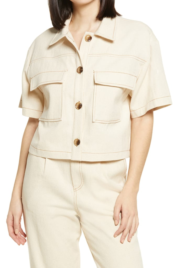 All in Favor Button-Up Crop Top