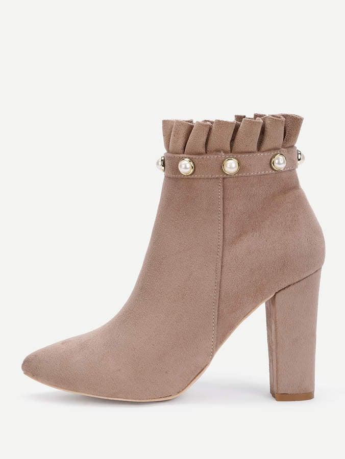 5d7b14650e Shein Faux Pearl Ruffle Trim Block Heeled Boots