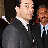 A wide-eyed Jon Hamm arrives at the Friends With Kids premiere during the Toronto Film Festival.