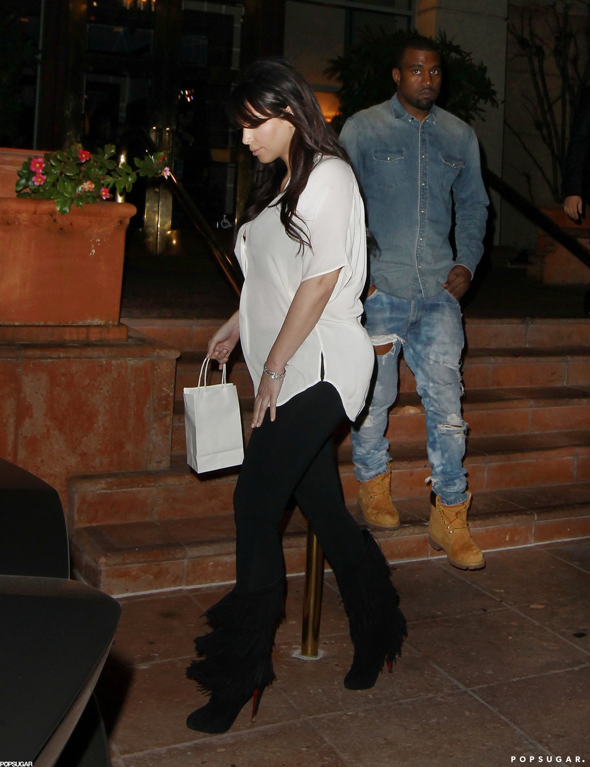Kim Kardashian and Kanye West celebrated Valentine's Day with a dinner date in LA.