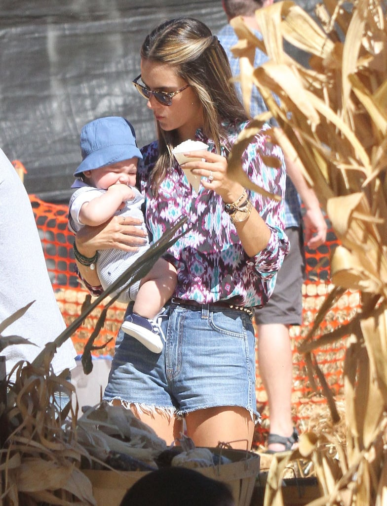 Alessandra Ambrosio Juggles Bikini Time With a Pumpkin Patch Playdate