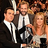 The couple also met up with pal Judd Apatow at the event . . .