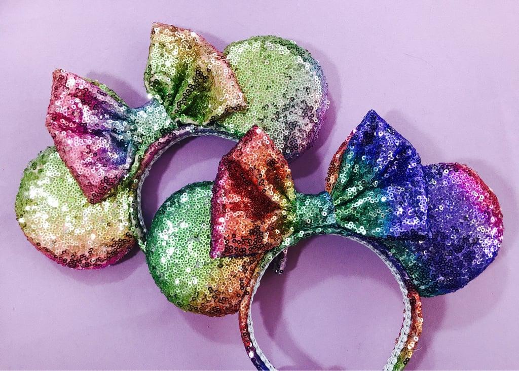 Unicorn Rainbow Sequin Minnie Ears ($40)