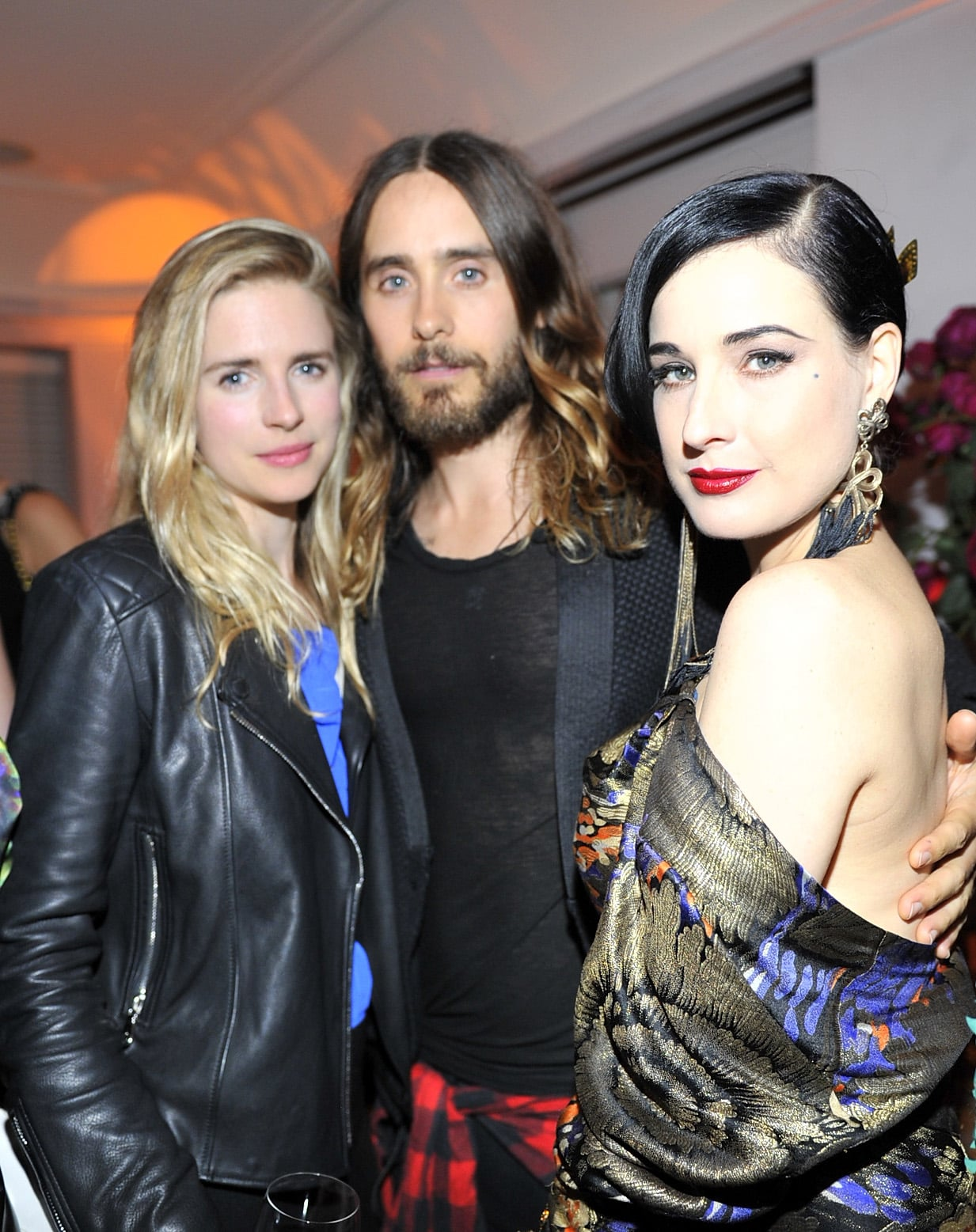 """Jared Leto chatted with actress Brit Marling and Dita Von Teese at W magazine's """"Best Performances"""" celebration on Thursday."""