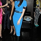 Victoria Beckham wore a blue Victoria Beckham Collection dress.