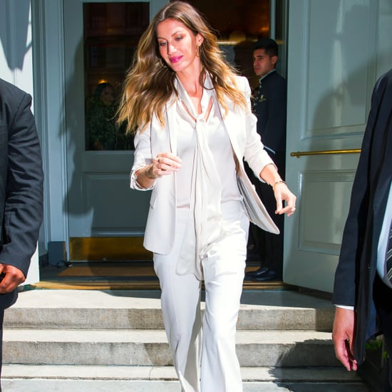 Gisele Bundchen Wearing a White Suit