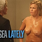 August 2014: Chelsea hit the showers on air for the last time with a fully clothed Ellen DeGeneres.