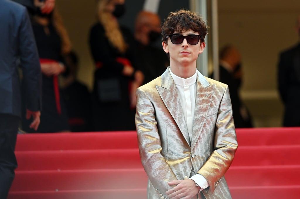 Timothée Chalamet Wears Silver Suit Outfit to Cannes: Photos