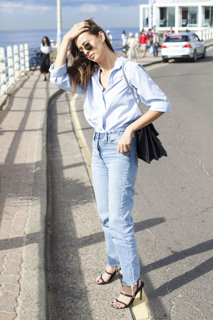 With your favorite button-down, dressed up with heels