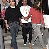Tom Cruise and Katie Holmes support his Rock of Ages costar Russell Brand.
