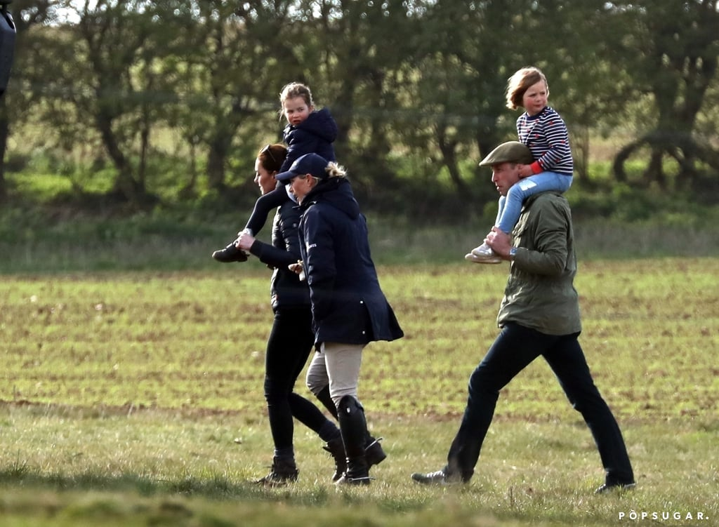 When Prince William and Kate Middleton aren't making royal appearances together, they're just being regular parents. The couple had a cute family outing with Prince George and Princess Charlotte when they all attended the Burnham Horse Trials in in Norfolk, England, on April 12. William's cousin Zara Tindall also joined in on the fun as she brought along husband Mike and their 5-year-old daughter, Mia.  The group was spotted giving the kids piggyback rides as they made their way across the field. George could be seen clutching a toy sword as Mike carried him on his shoulders. At one point during the outing, Kate shared a sweet motherly moment with her young ones as she brushed back George's hair and held Charlotte's hand.  It won't be long now until George and Charlotte get another royal cousin to hang out with. Prince Harry and Meghan Markle are expected to welcome their first child later this month. While they have chosen to keep the details about their baby's birth private, they will partake in a photo op with their new baby at Windsor Castle a few days later. Perhaps we'll get a group photo with the entire royal family like we did for Prince Charles's birthday?      Related:                                                                                                           Prince William and Kate Middleton's Family Is Just as Sweet as Their Royal Romance