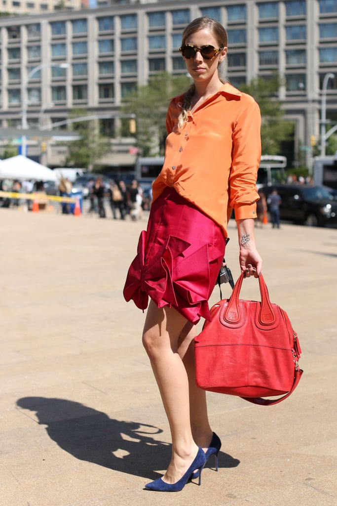 Sherbet hues made a totally gorgeous color statement on this ensemble.